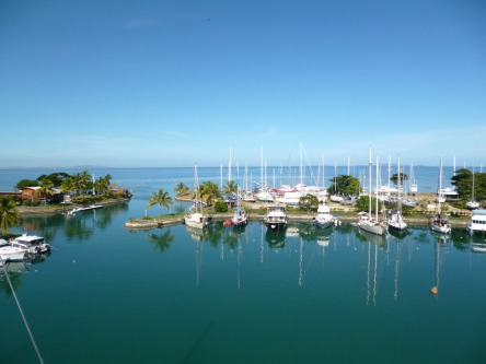 View of Vuda Marina from top of the mast