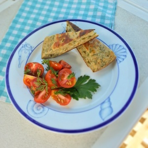 Saffron Yogurt Herb Bread and Local Tomato Salad