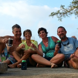 The last drink with Connie and Graeme from S/Y Inti in Port Vila